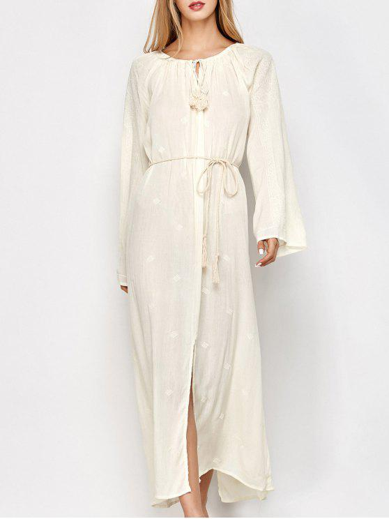 trendy Raglan Sleeve Embroidered Maxi Dress - OFF-WHITE XL
