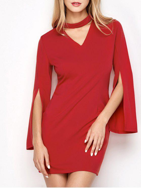 women Bell Sleeve Choker Bodycon Prom Dress - RED S