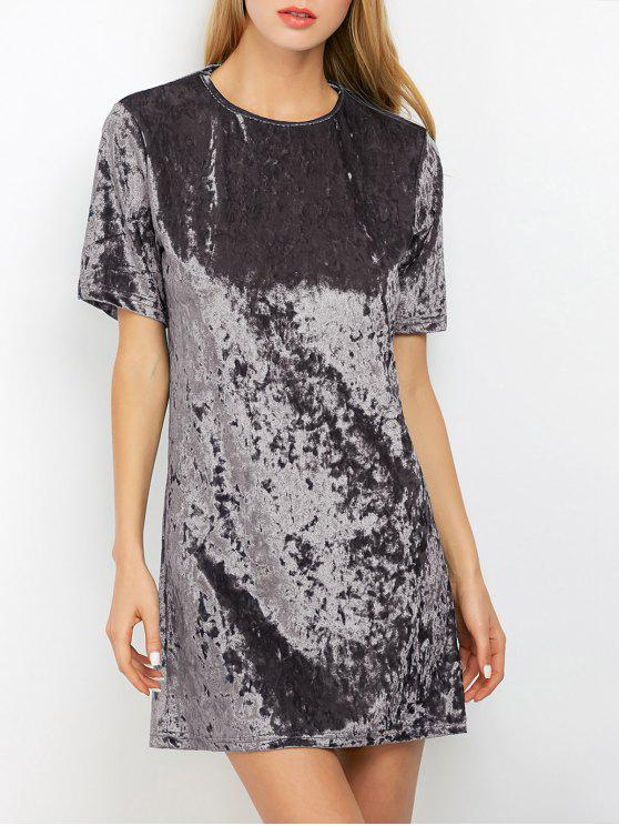 women Shift Crushed Velvet Tunic Mini Dress - SILVER GRAY XL