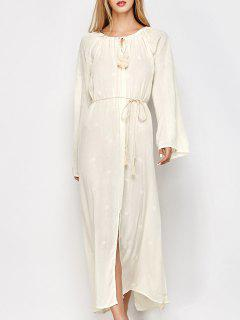 Raglan Sleeve Embroidered Maxi Dress - Off-white Xl