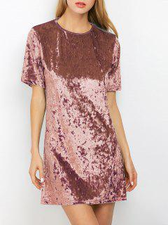 Shift Crushed Velvet Tunic Mini Dress - Dark Auburn S