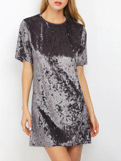 Shift Crushed Velvet Tunic Mini Dress - Silver Gray S