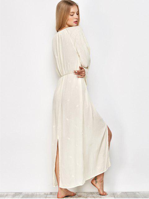 trendy Raglan Sleeve Embroidered Maxi Dress - OFF-WHITE XL Mobile