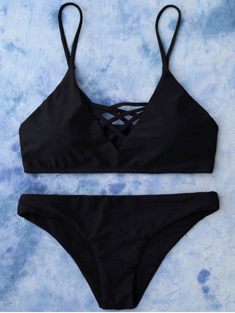 ladies Lace Up Bikini Swimwear - BLACK M Mobile