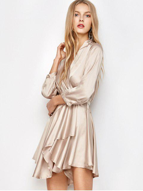online Satin Wrap Robe Tea Dress - YELLOWISH PINK S Mobile