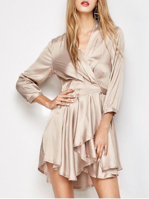 best Satin Wrap Robe Tea Dress - YELLOWISH PINK M Mobile