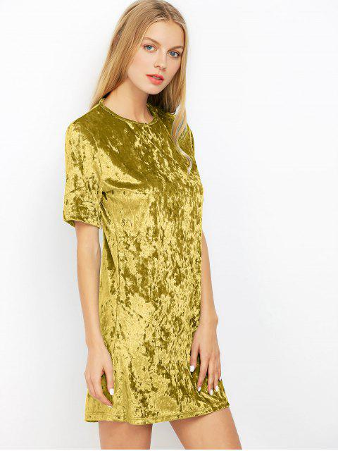 fancy Shift Crushed Velvet Tunic Mini Dress - BLUISH YELLOW M Mobile