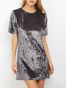 Shift Crushed Velvet Tunic Mini Dress - Silver Gray Xl