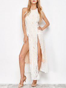 Geo Lace Maxi Thigh Split Dress - Apricot S