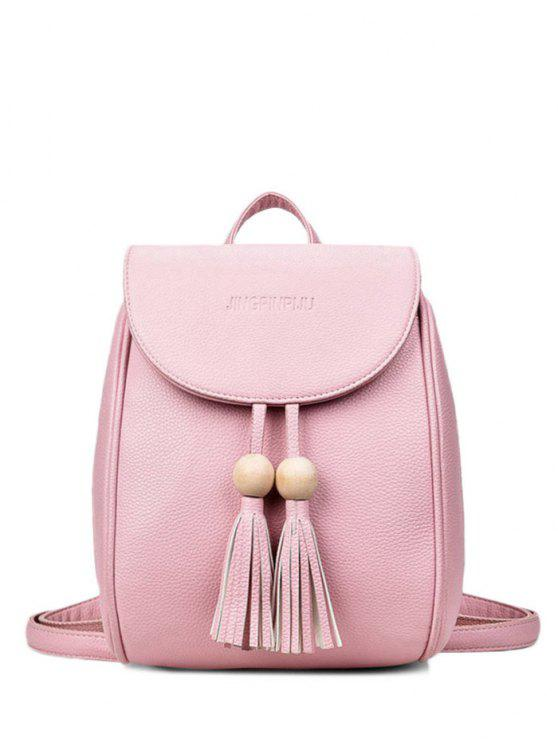 outfit Wood Bead Tassel Backpack - PINK