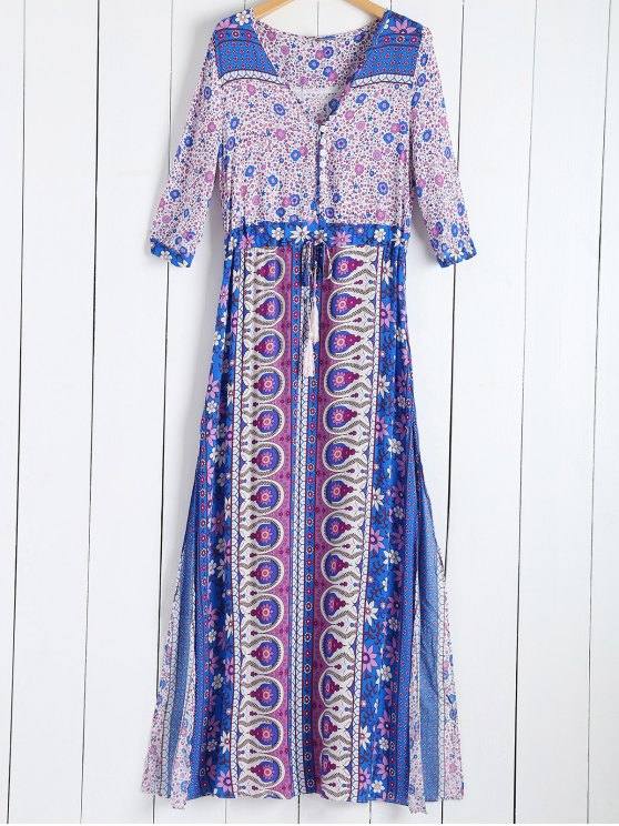 hot Tiny Floral Printed 3/4 Sleeves Bohemian Dress - PURPLE M