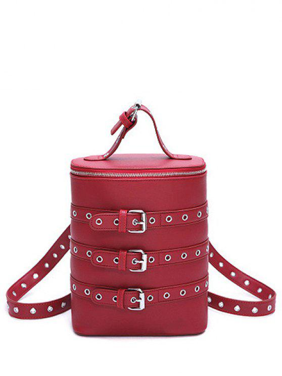 Oeillets Buckle Straps Convertible Backpack - Rouge vineux