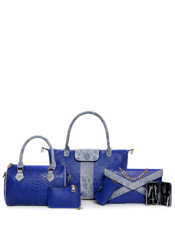 ladies Snake Embossed 6PCS Handbag Set - BLUE