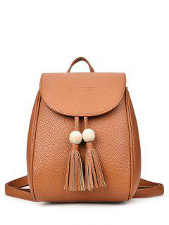 Wood Bead Tassel Backpack - Brown