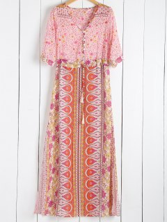 Scoop Collar Tiny Floral Printed 3/4 Sleeve Dress - Pink L