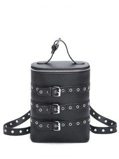 Eyelets Buckle Straps Convertible Backpack - Black
