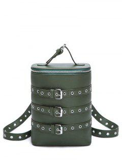 Eyelets Buckle Straps Convertible Backpack - Green