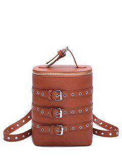 Eyelets Buckle Straps Convertible Backpack - Brown