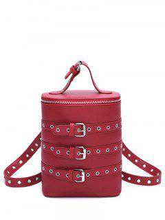 Eyelets Buckle Straps Convertible Backpack - Wine Red