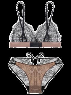 Lace Floral Jacquard Bra Set - Complexion S