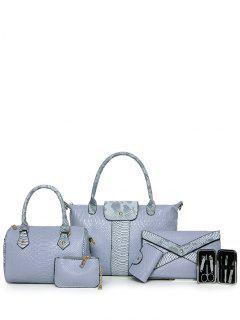 Snake Embossed 6PCS Handbag Set - Blue Gray