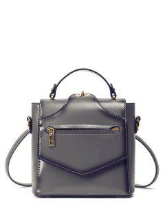 Convertible Faux Leather Backpack - Gray