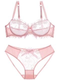 Bowknot See-Through Bra Set - Pink 95d