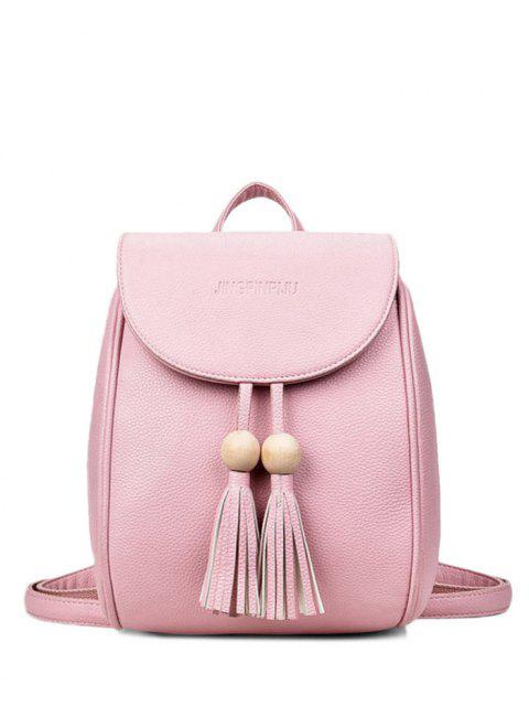 outfit Wood Bead Tassel Backpack - PINK  Mobile