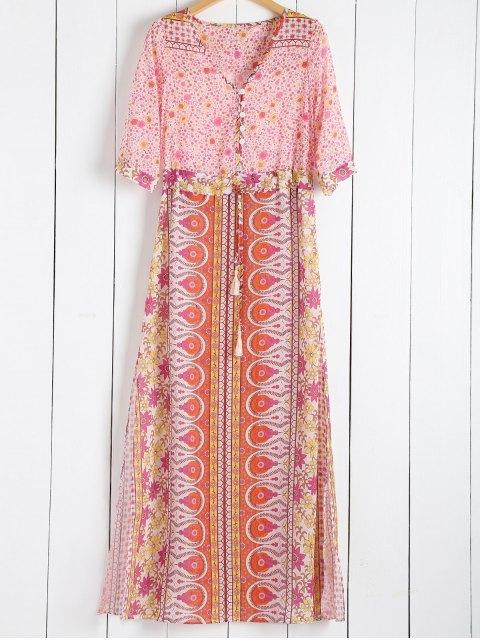 ladies Scoop Collar Tiny Floral Printed 3/4 Sleeve Dress - PINK L Mobile