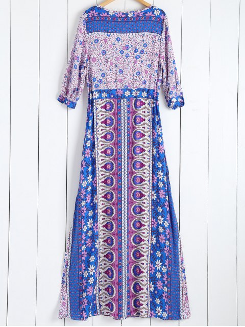 hot Tiny Floral Printed 3/4 Sleeves Bohemian Dress - PURPLE M Mobile