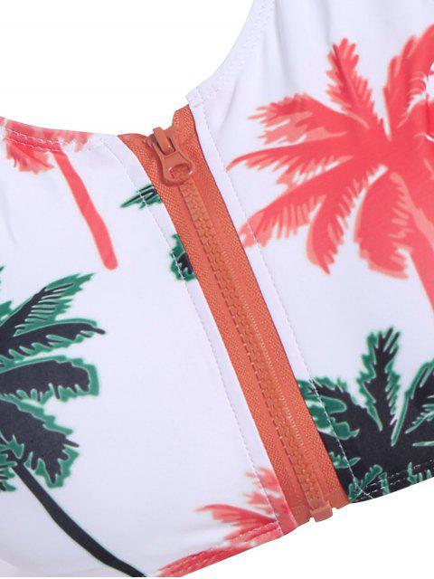 latest Palm Print Round Neck Bikini Set - WHITE M Mobile