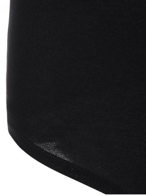 ladies Pineapple Print Bodysuit - BLACK M Mobile