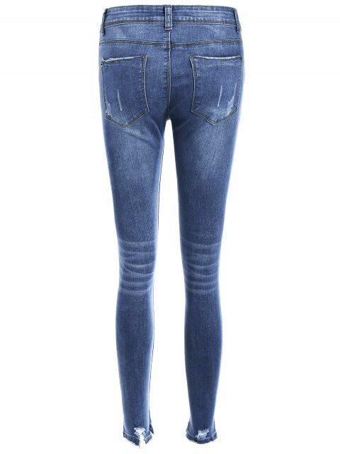 trendy Bleach Wash Skinny Ripped Jeans - BLUE S Mobile
