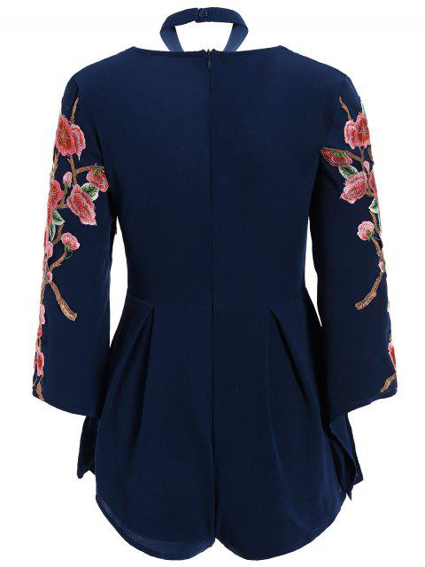 sale Embroidered Sleeve Choker Romper - CADETBLUE L Mobile