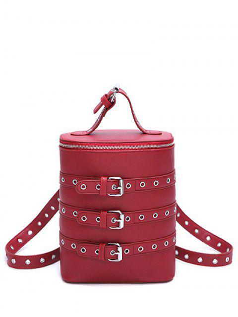 fashion Eyelets Buckle Straps Convertible Backpack - WINE RED  Mobile
