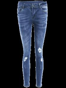 bleach wash skinny ripped jeans blue jeans xl zaful. Black Bedroom Furniture Sets. Home Design Ideas