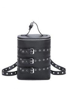 Oeillets Buckle Straps Convertible Backpack - Noir