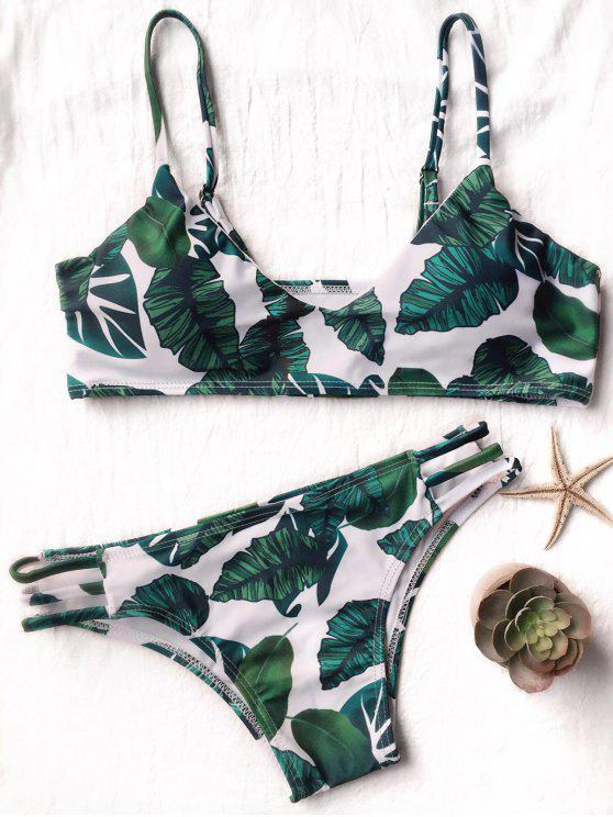 women Palm Leaf Side Strap Bkini - WHITE AND GREEN M