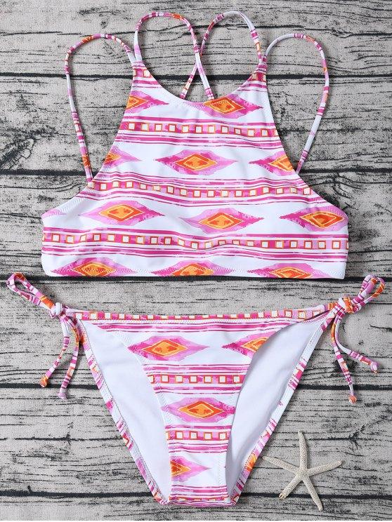 trendy Tie Side High Neck Geo Bikini - PINK AND WHITE M