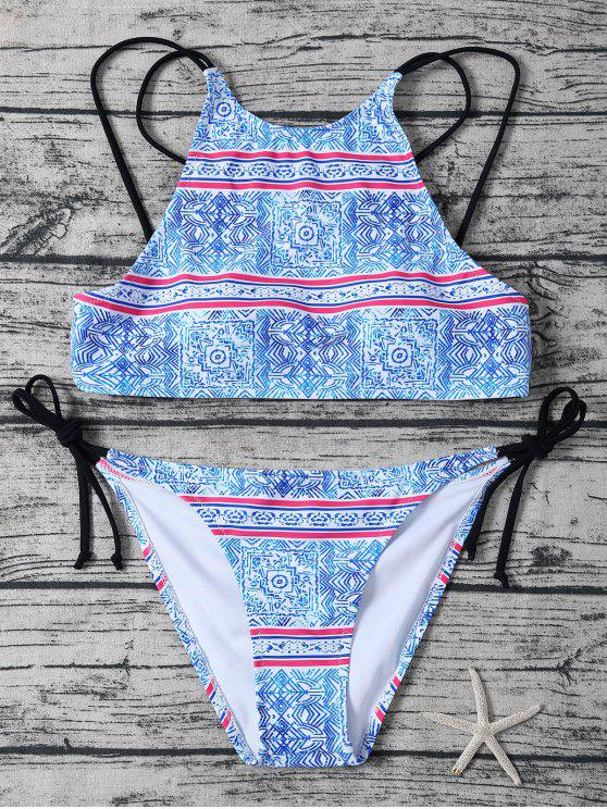 lady Side Tie Printed High Neck Bikini - BLUE AND WHITE M