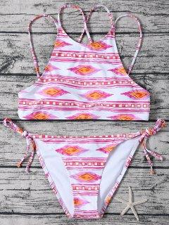 Bikini Geo à Deux Bretelles à Col Haut Lacé Latéral - Rose Et Blanc Xl