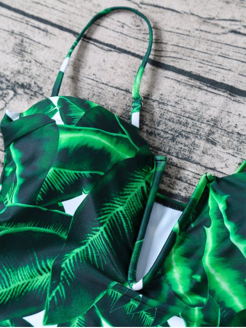 trendy V Plunge Palm Leaf Print Swimsuit - GREEN XL Mobile