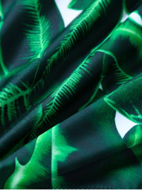 Combinaisons de bains imprimé feuilles col plongeant V - Vert L Mobile