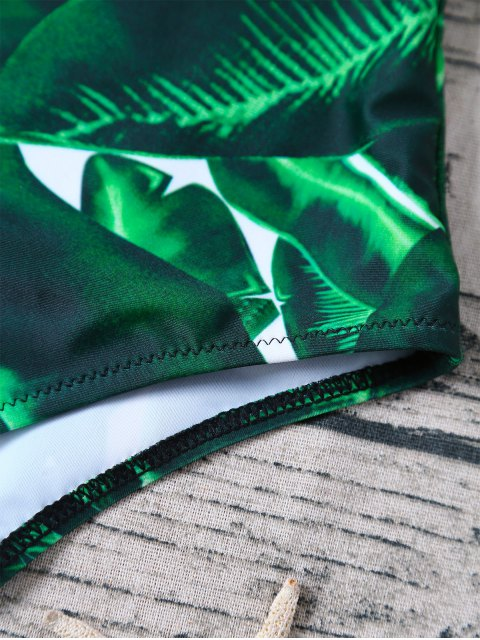 chic V Plunge Palm Leaf Print Swimsuit - GREEN M Mobile