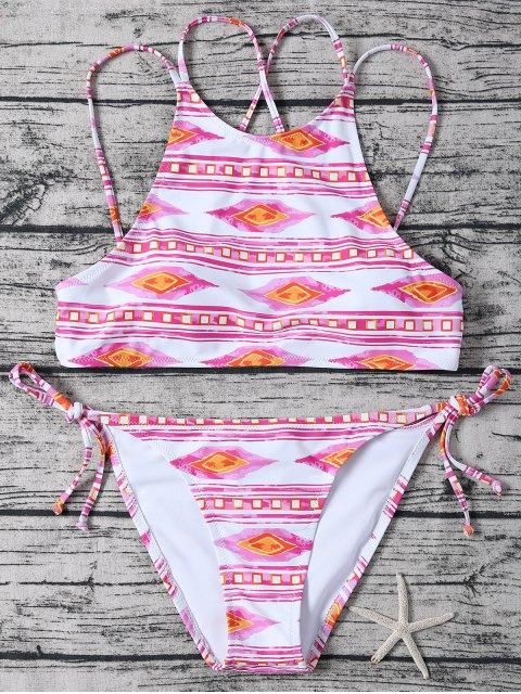 Bikini geo à deux bretelles à col haut lacé latéral - Rose et Blanc XL Mobile
