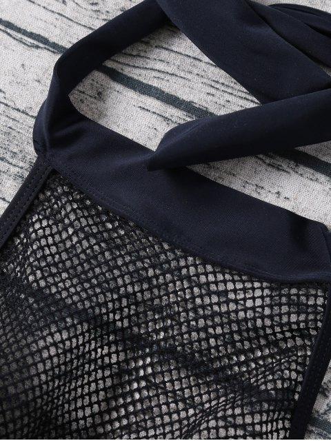 womens Molded Fishnet Panel Bikini - BLACK M Mobile
