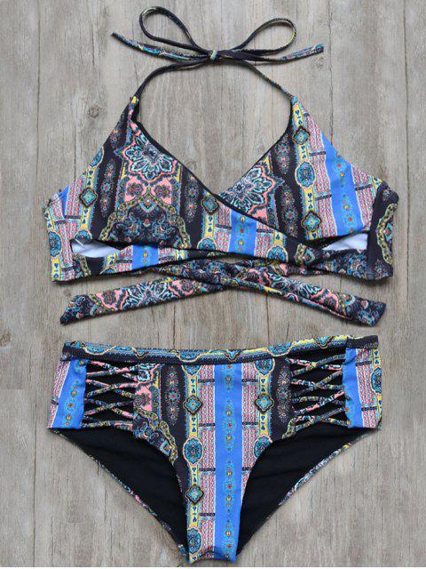 women Back Tie Wrap Tribal Print Bikini Set - BLACK M Mobile
