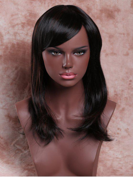 طويل أنيق الجانب بانغ مستقيم الذيل صعودا مختلط اللون المرأة شعر مستعار الاصطناعية - Colormix