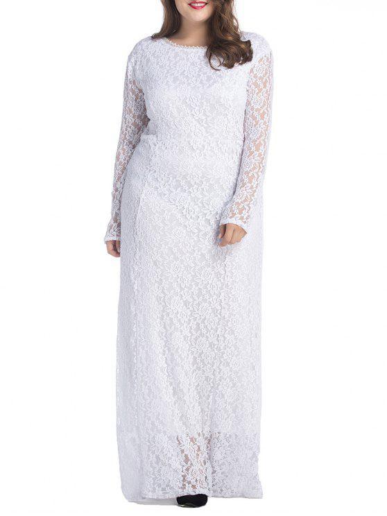 فستان ماكسي من الدانتيل ذو مقاس كبير - أبيض XL