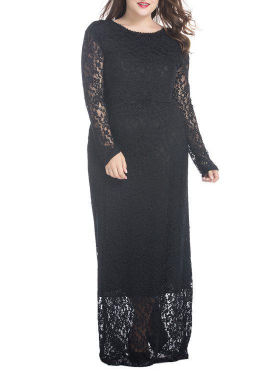 فستان ماكسي من الدانتيل ذو مقاس كبير - أسود 3XL